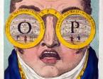 תמונה 1. קריקטורה של הצייר ג'ון פיליפ קמבל  (1757-1823), מראה אדם עם משקפיים גדולות שדרכן נשקף מראה של תיאטרון.